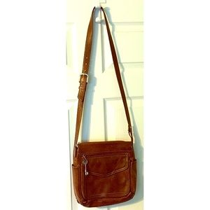 Fossil Distressed CrossBody Bag Brown Leather